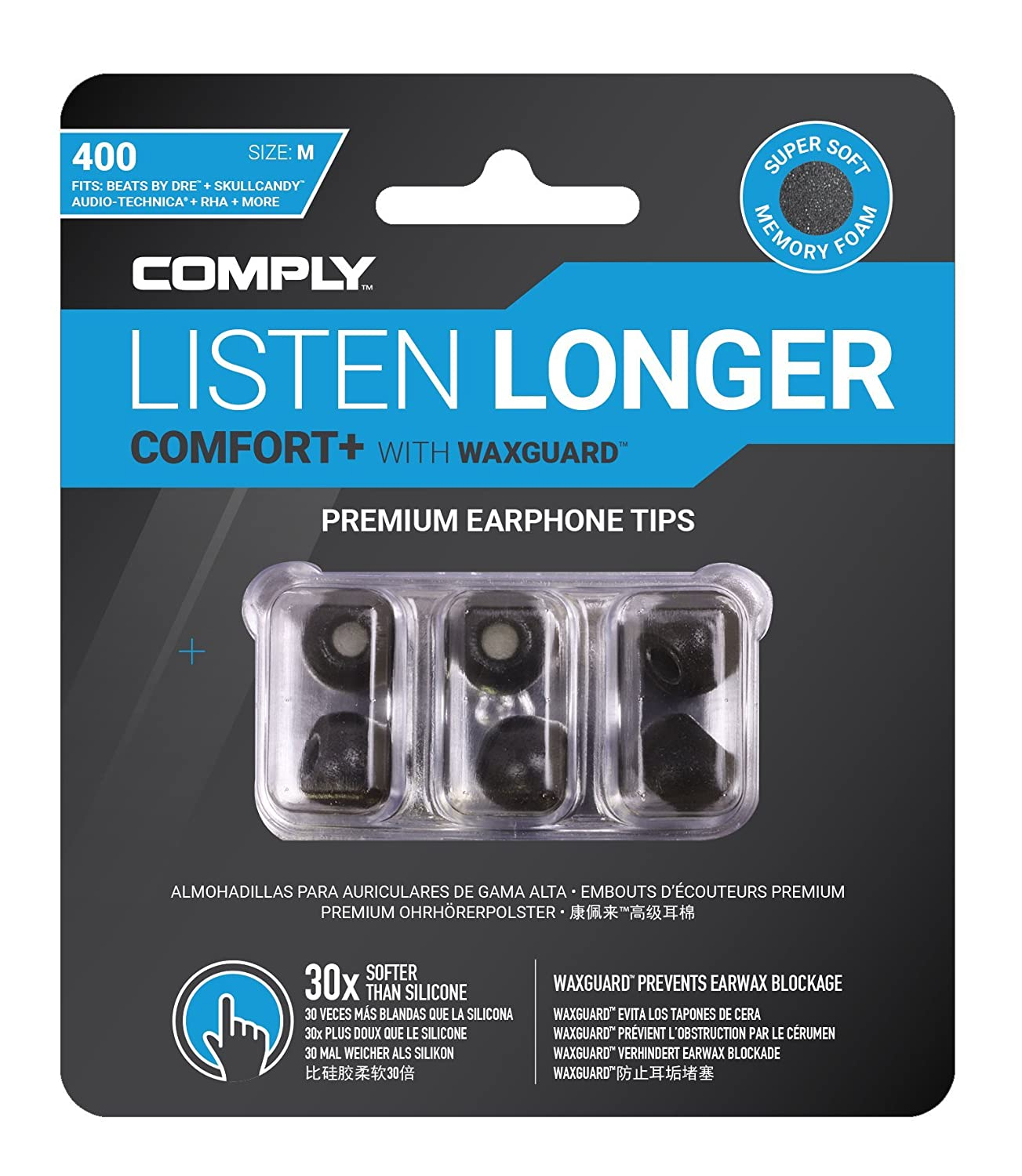 Comply Comfort Plus Premium Memory Foam Earphone Tips Noise Reducing Replacement Earbud Tips BandO Play Xioami Mi Hybrid and More Secure Fit Ultimate Ears Large - Black MEE audio M6 Pro Tsx-200 3 Pair