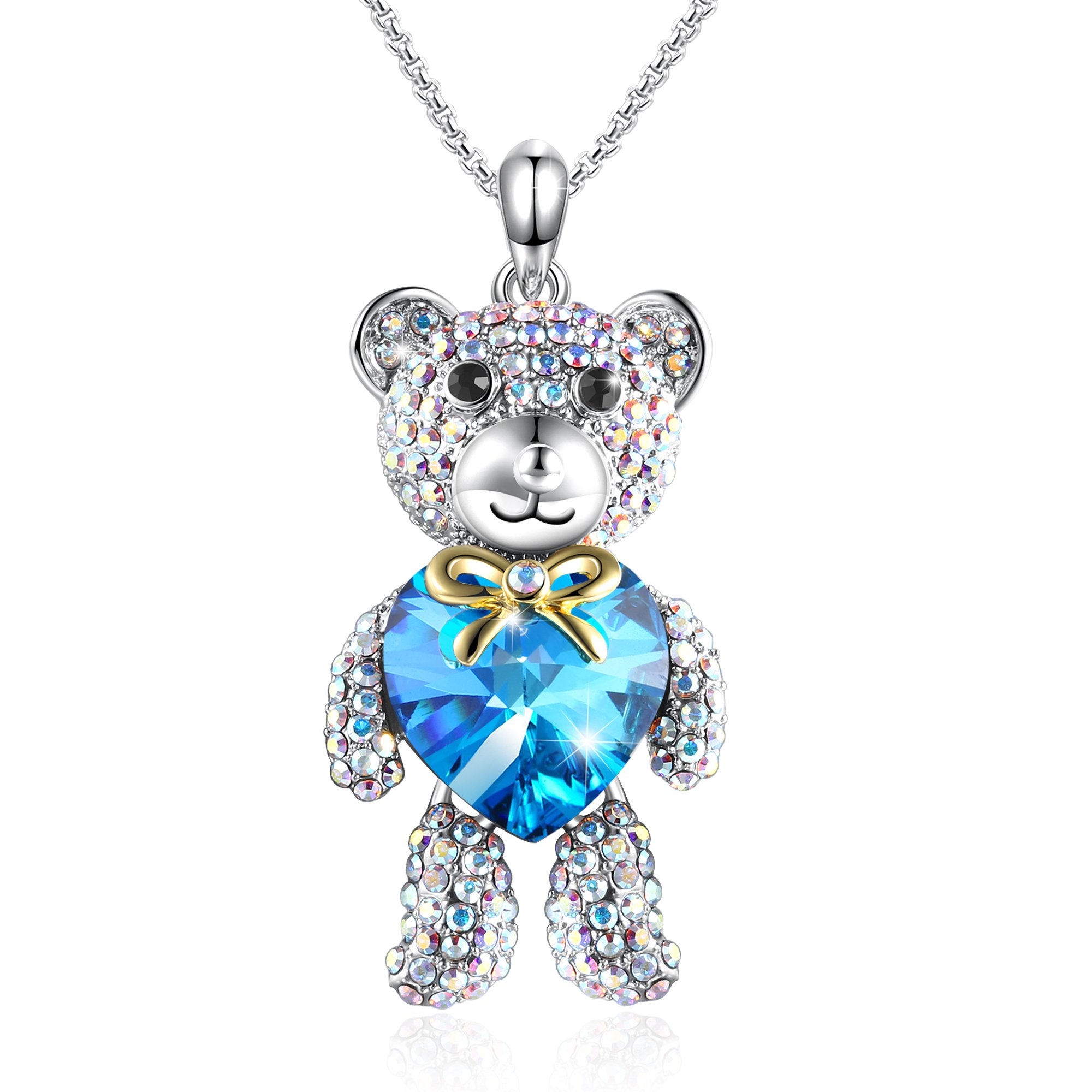 gallery necklace kc designs lyst pendant teddy product metallic in yellow diamond bear gold jewelry