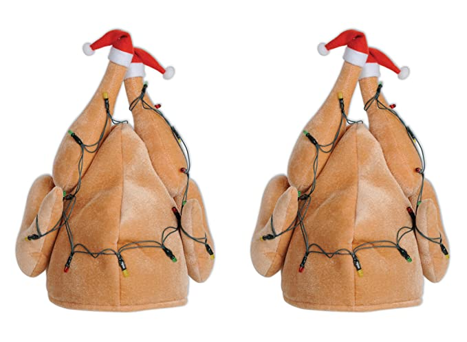 d2293b59e24 Amazon.com  Plush Light-Up Christmas Turkey Hat  Kitchen   Dining