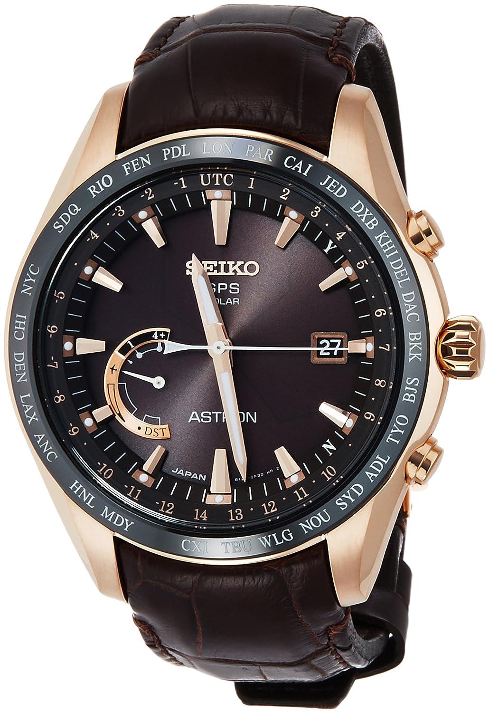 [アストロン]ASTRON 腕時計 ASTRON GPSソーラー電波 ワールドタイム機能 チタンモデル ダークブラウン文字盤クロコダイル革バンド SBXB096 メンズ B01FH92SKI