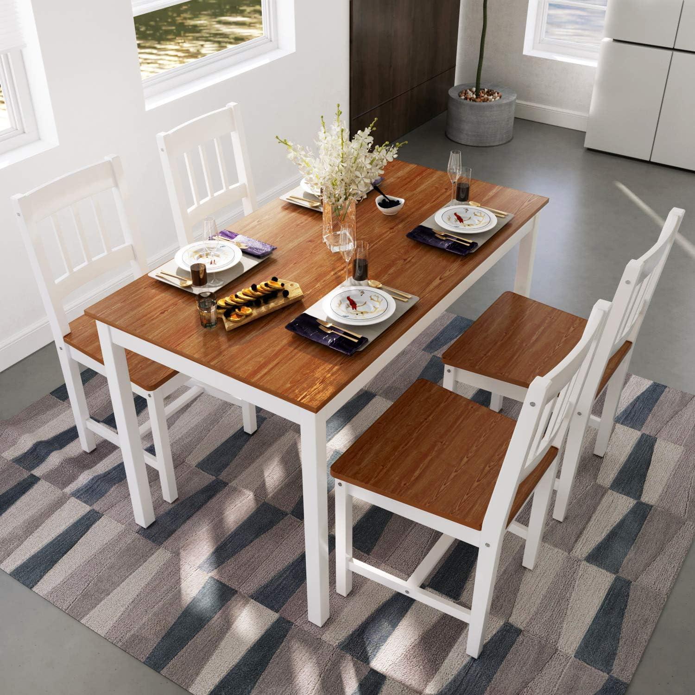 ELEGANT Dinning Table and Chair Set 4 Honey White Pine Wood Rectangular Kitchen Living Room Set for Home Dinner Room Furniture