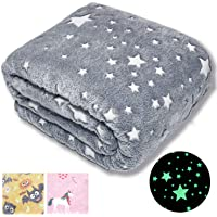 "Forestar Glow in The Dark Throw Blanket, Christmas Fun Gift for Girls Boys Kids, Premium Super Soft Fuzzy Fluffy Plush Furry Throw Blanket (50"" x 60"" Gray)"