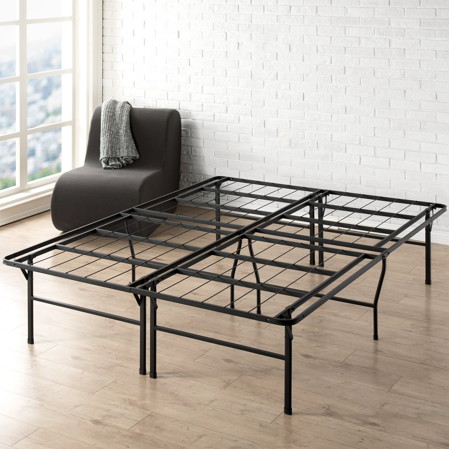 Best Price Mattress Queen Bed Frame - 18 Inch Metal Platform Beds w/Heavy Duty Steel Slat Mattress Foundation (No Box Spring Needed), Black by Best Price Mattress