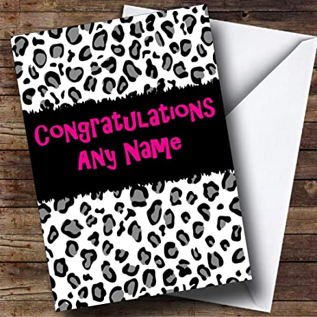 black and white leopard print personalized congratulations greetings card