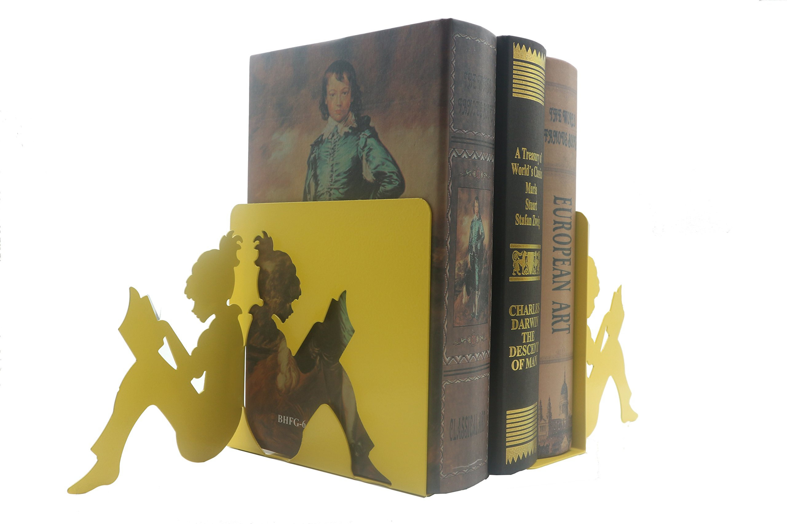 Y-H 3D Paper-cut Little Girl Is Reading Metal Bookends Book Ends For Kids Teachers Students Study Gift School Library Home Desk Office Decoration (yellow) by YIHUI (Image #4)