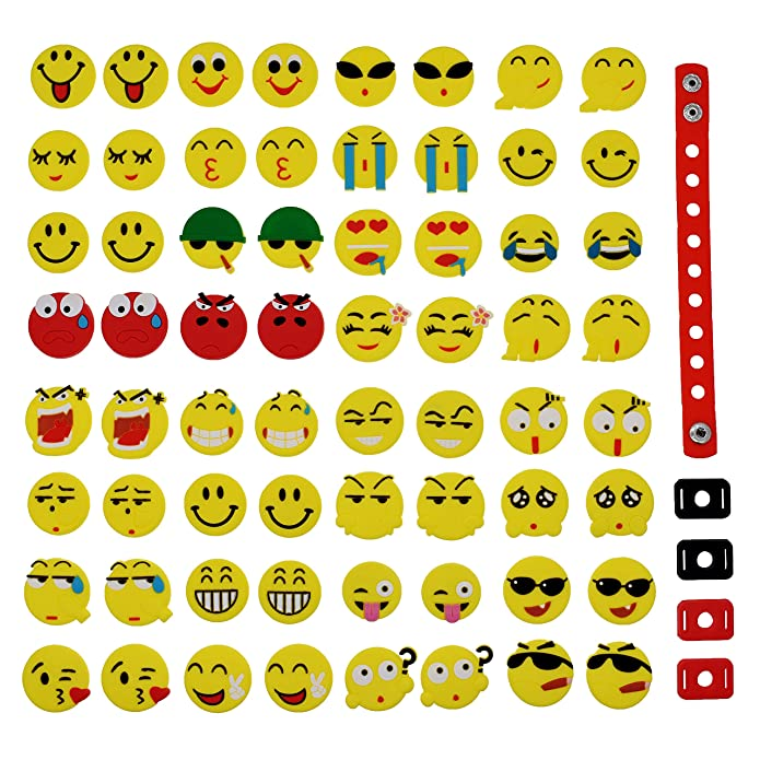 8bf3f31e3 Amazon.com  XHAOYEAHX Pack of 64 Smile Face Emoji Shoe Charms Jibbitz  Emoticons Fits for Croc Shoes   Wristband Bracelet + 4Pcs Shoe Lace Adapter  + 1Pcs ...