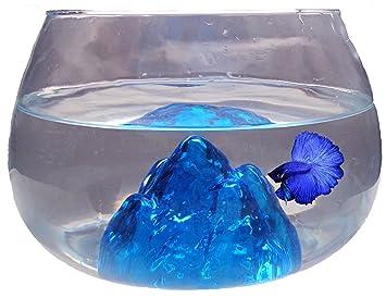 Nicepets Pecera pequeña Redonda de Cristal Azul y 6,5L para Peces ...