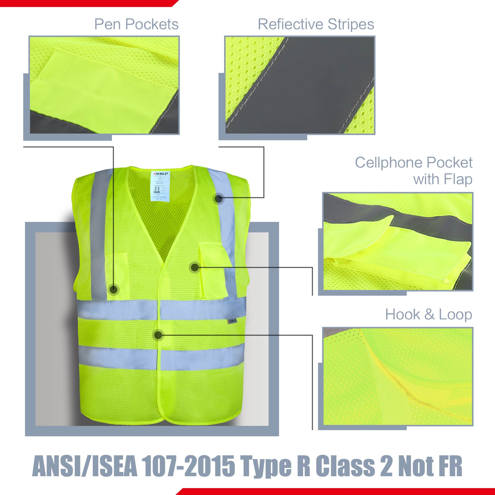 XSHIELD XS0006,High Visibility Mesh Safety Vest with Silver Stripe,ANSI/ISEA 107-2015 Type R Class2 Not FR,Pack of 5 (XL, Yellow) by X-Shield (Image #2)