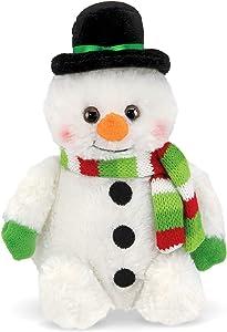 Bearington Snowball Plush Stuffed Animal Snowman, 7 inches