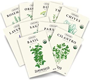Sereniseed Certified Organic Herb Seed Collection (10-Pack) – 100% Non GMO, Open Pollinated, Heirloom Varieties, 2021 Packs – Guide for Indoor & Outdoor Garden Planting