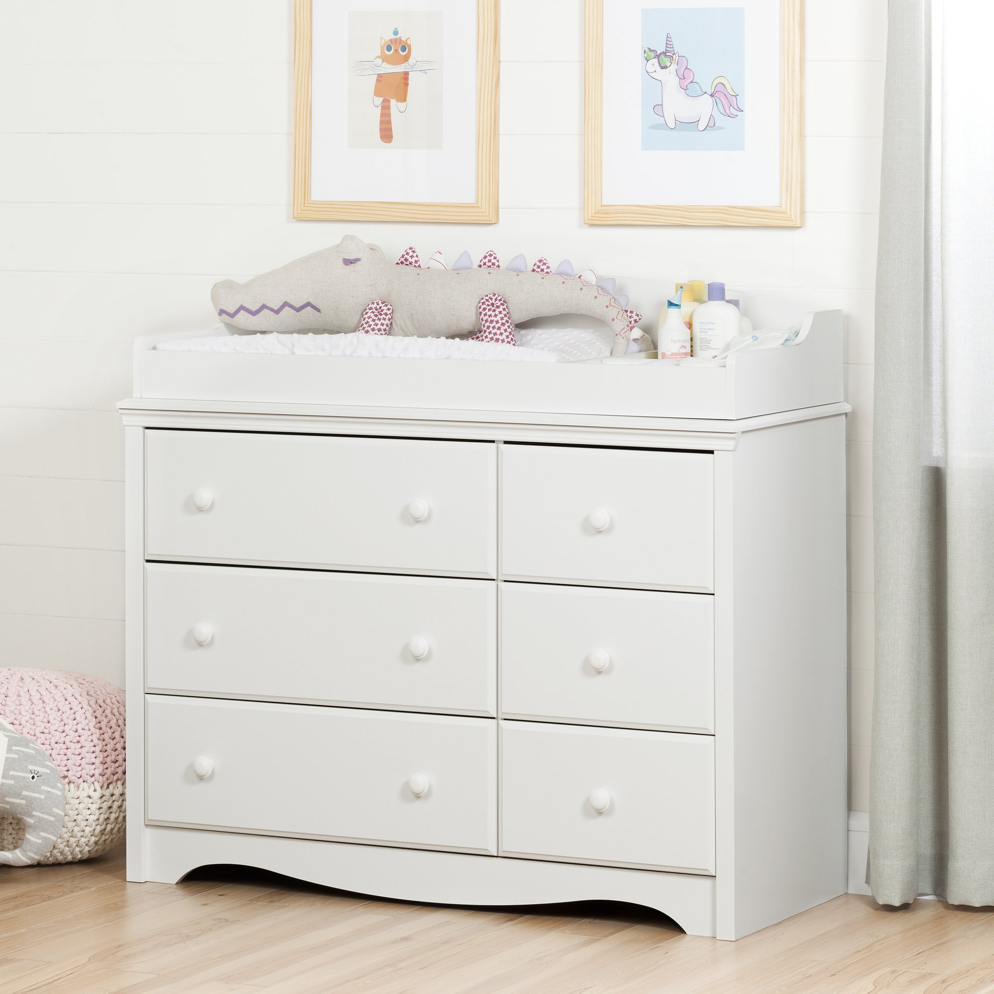 South Shore Furniture Angel Changing Table with 6 Drawers, Pure White
