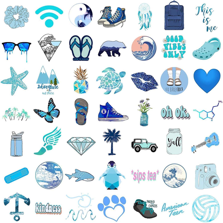 OCEAN 50 Pack Decal Waterproof Stickers for Water Bottles Laptop Hydro Flasks,VSCO Blue Cute Cool Vinyl Aesthetic Trendy Skateboard Car Luggage Computer Stickers for Teens Kids Girls Boys Adults