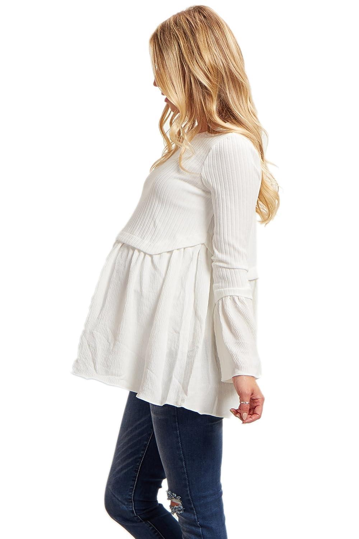 c80801bdbf4 PinkBlush Maternity Ribbed Peplum Long Sleeve Top at Amazon Women s  Clothing store