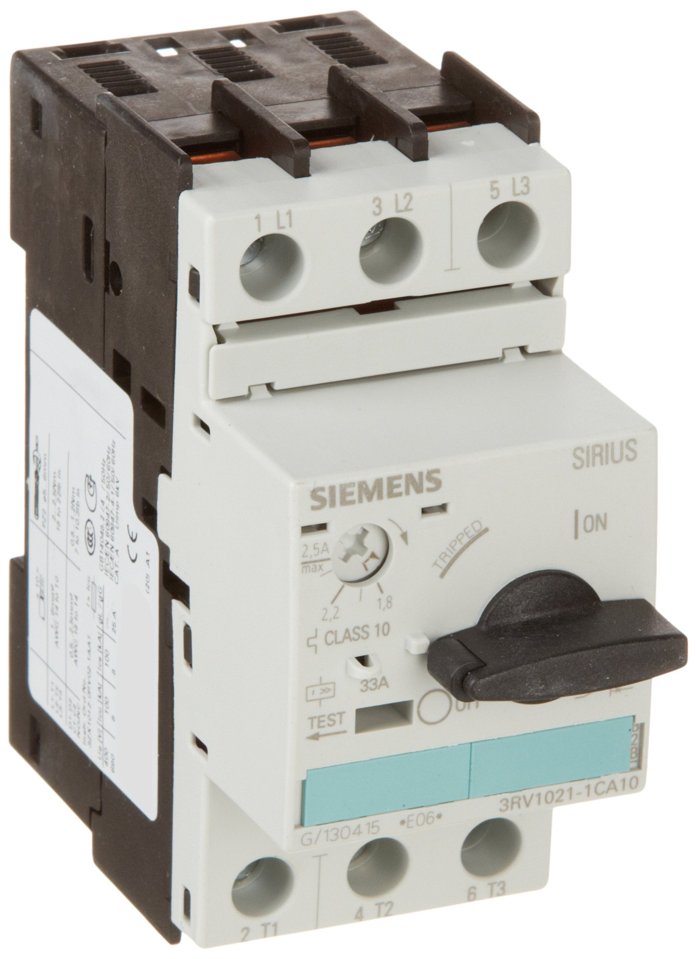 Siemens 3RV1021-1CA10 Manual Starter and Enclosure, Open Type, 1.8-2.5 FLA Adjustment Range