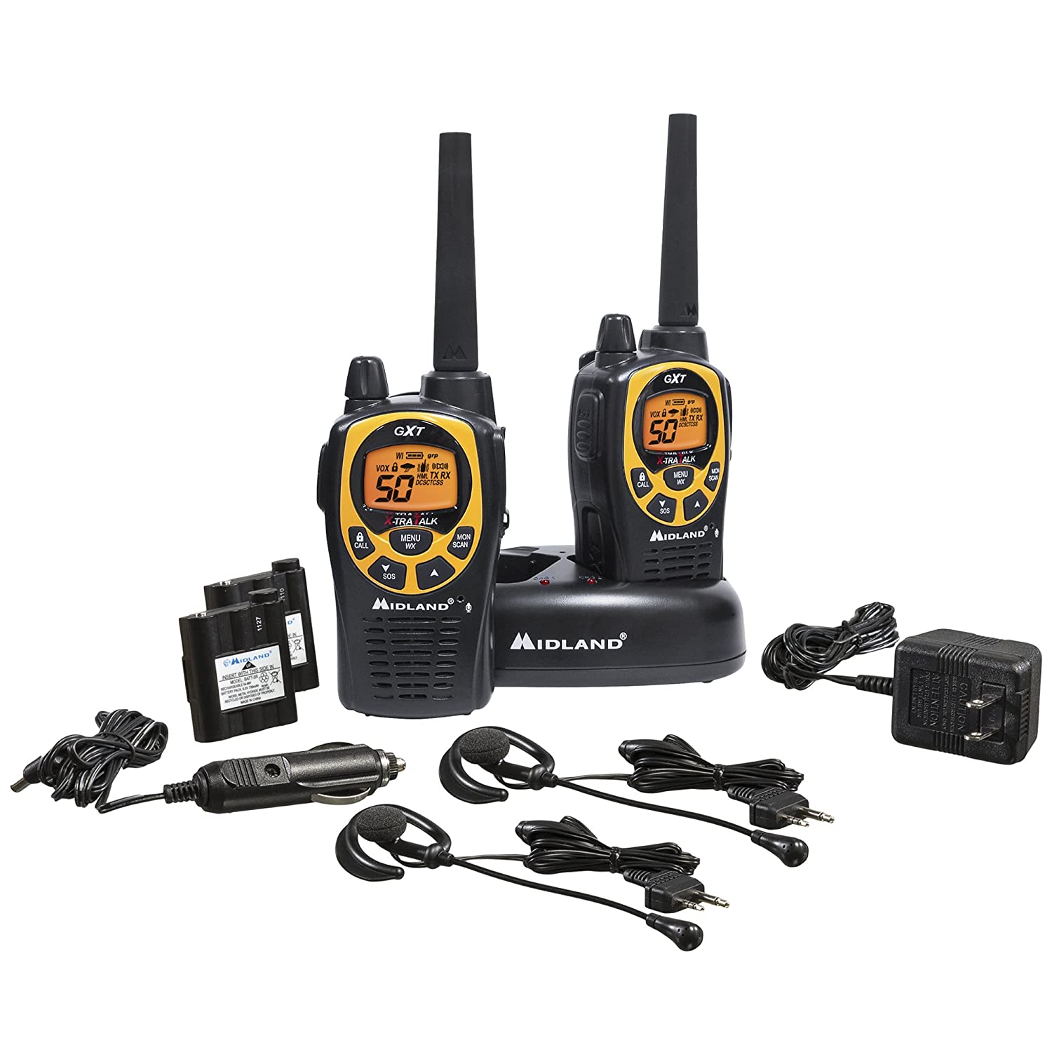 #1: Midland GXT1000VP4 36-Mile 50-Channel FRS/GMRS Two-Way Radio
