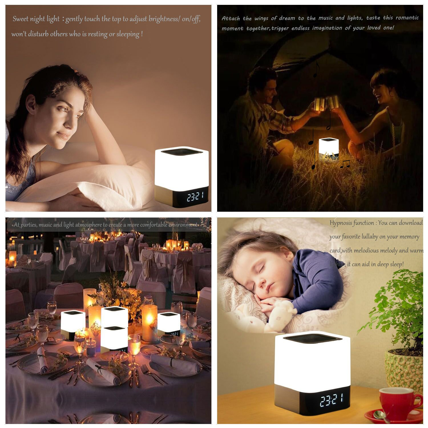 WamGra Night lights Bluetooth Speaker,Touch Sensor Bedside Lamp Dimmable Warm Light,Color Changing Bedside Lamp,MP3 Music Player,Wireless Speaker with Lights (Newest Version) by WamGra (Image #7)