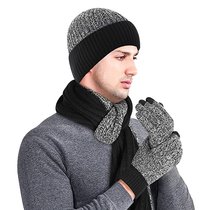 Bequemer Laden Men/'s Winter Accessories Warm Thick Knit Beanie Hat /& Scarf /& Touchscreen Gloves Set for Men