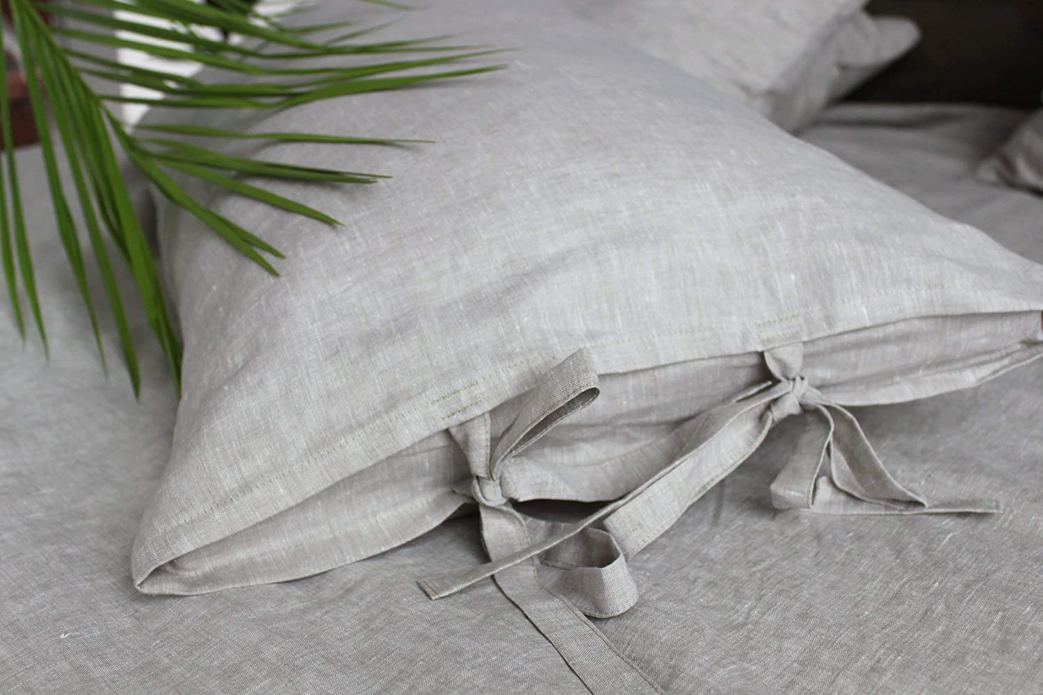 Natural Linen Pillow Sham with Ties-Standard, Queen, King, Euro Sizes -Natural, White or Grey Colors Euro Sizes -Natural