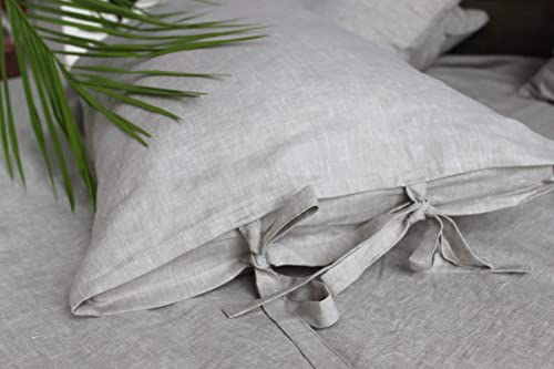 Standard Luxury linen pillow case with natural lace King Euro Queen Organic softened  natural linen pillow case Sham