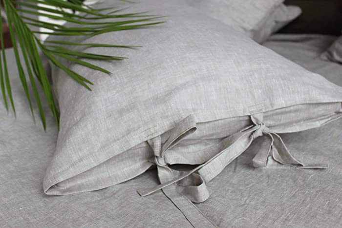 Amazoncom Natural Linen Pillow Sham With Ties Standard Queen
