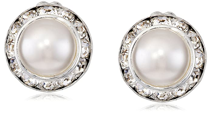 Vintage Style Jewelry, Retro Jewelry Silver Crystal Rhinestone Rondelle Circle Round Shape Earrings $9.99 AT vintagedancer.com
