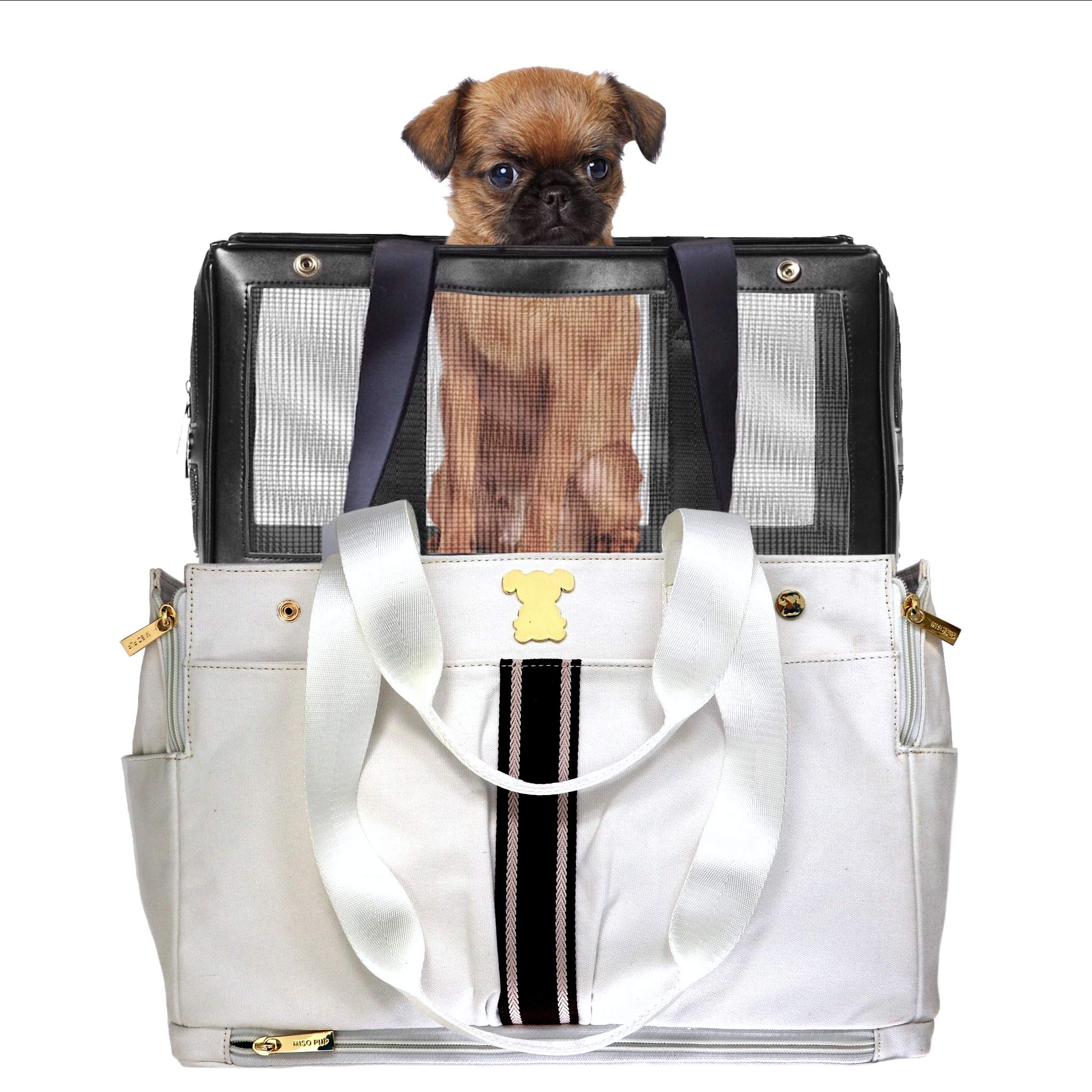 MISO PUP White Canvas Brown Stripe- Interchangeable Airline Approved Pet Carrier Combo with Pockets for Small Dogs (Pet Carrier Base & Shell Tote)