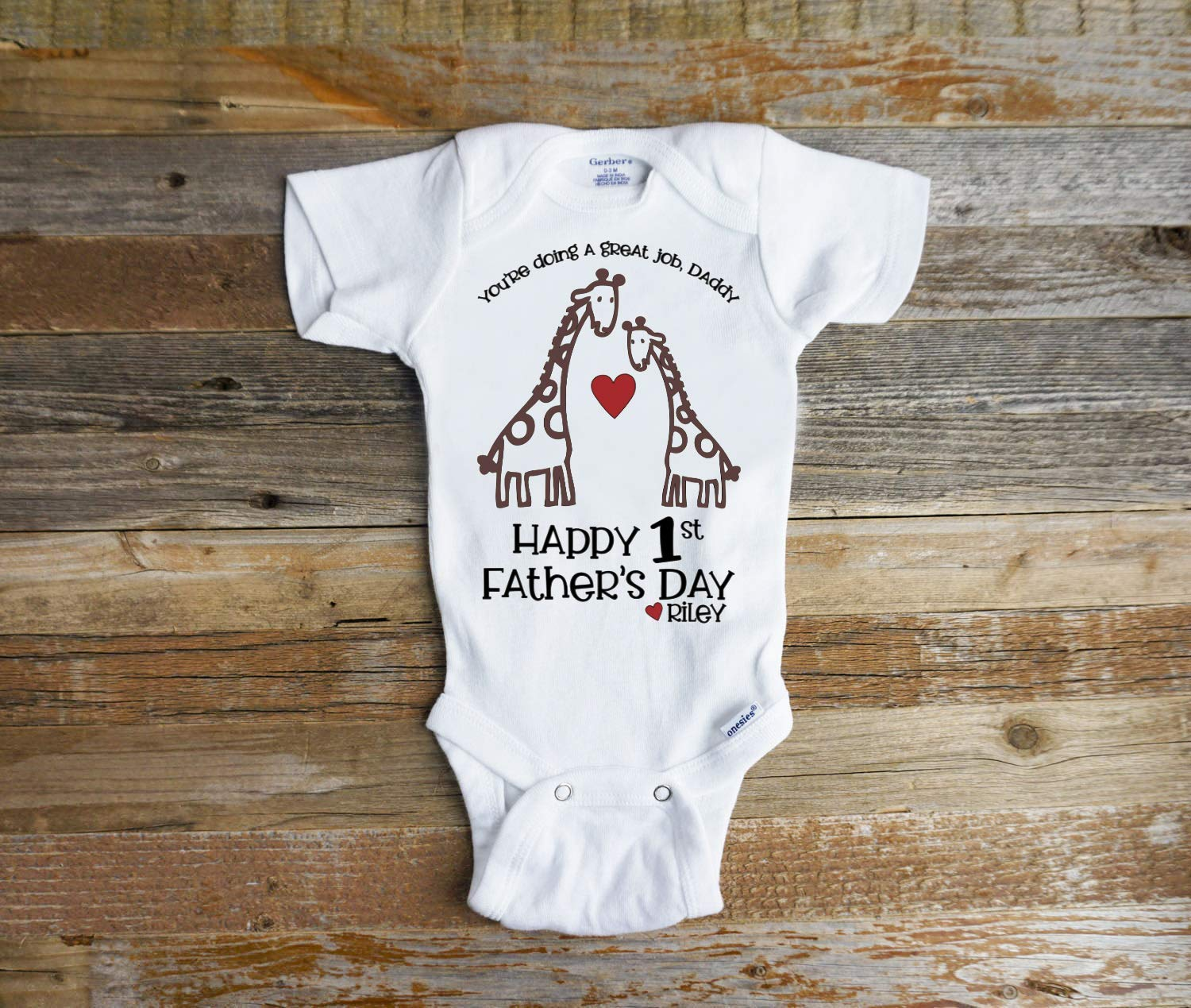 Happy 1st Father/'s Day Hearts Embroidered Baby Vest Gift Personalised Fathers