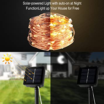 Enjoyable Waao Solar String Lights 33Ft 100Led Outdoor String Lights Wiring Cloud Hisonuggs Outletorg