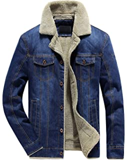 4ade873d1f chouyatou Men s Classic Button Front Rugged Sherpa Lined Denim Trucker  Jackets