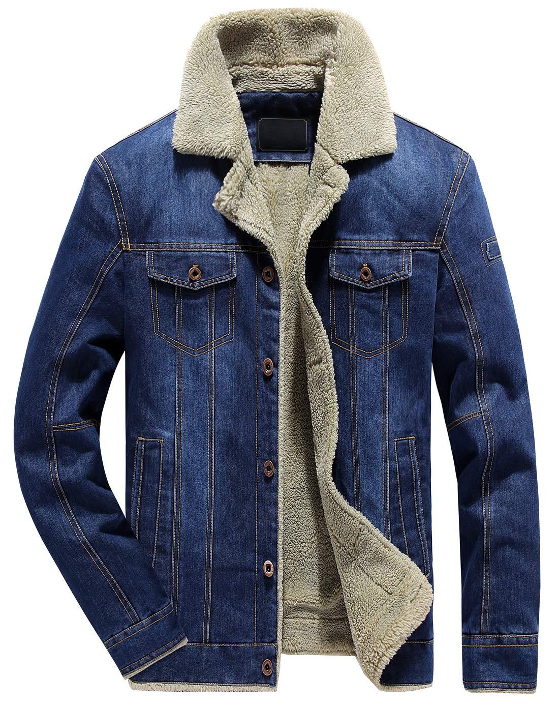 chouyatou Men's Classic Button Front Rugged Sherpa Lined Denim Trucker Jackets (XX-Large, Blue) by chouyatou