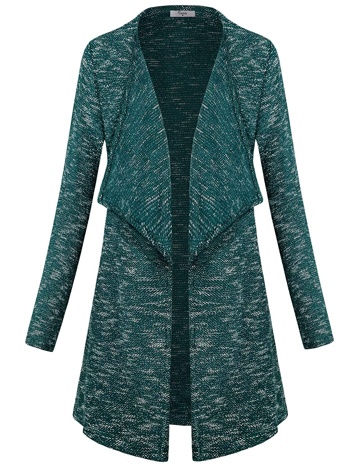 Long Sleeve   Lapel Neck   Side Pockets   Heather Colored   Open Front With  No Closure Cozy cardigan for women c04e80030
