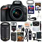 Nikon D5600 Wi-Fi Digital SLR Camera with 18-55mm VR & 70-300mm DX AF-P Lenses + 64GB Card + Case + Flash + Video Light + Battery/Charger + Tripod Kit
