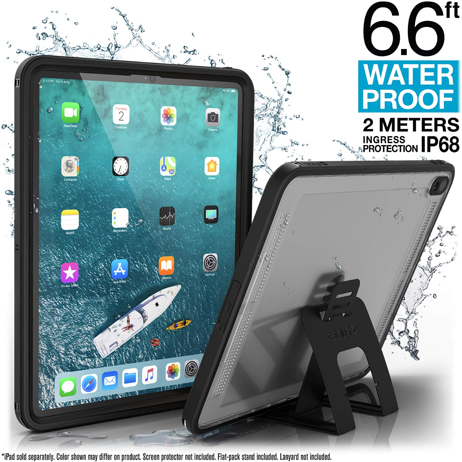 Waterproof iPad Case for iPad Pro 12.9'' 2018 by Catalyst - Waterproof 6.6 ft - Full Body Protection, Heavy Duty Drop Proof 4ft, Kickstand, True Acoustic Sound Technology, Built-in Screen Protector by Catalyst