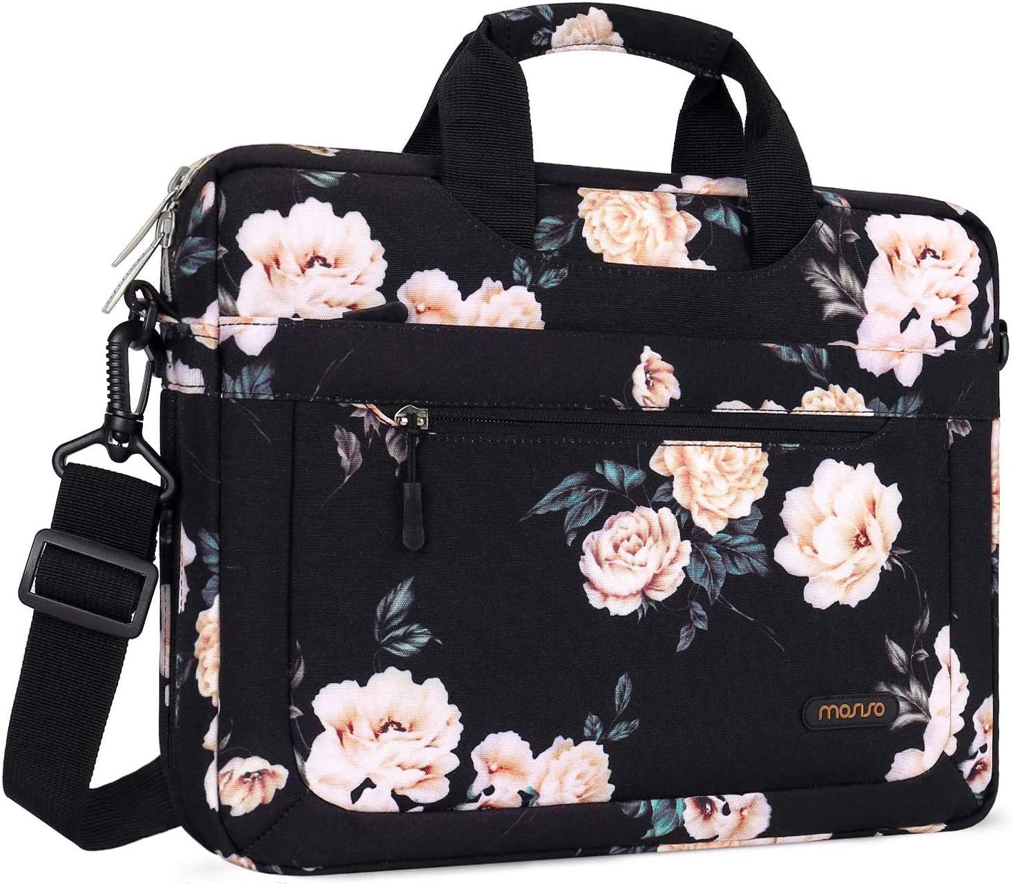 MOSISO Laptop Shoulder Bag Compatible with 13-13.3 inch MacBook Pro, MacBook Air, Notebook, Polyester Camellia Messenger Carrying Briefcase Sleeve with Adjustable Depth at Bottom, Black