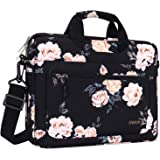 MOSISO Laptop Shoulder Bag Compatible with 13-13.3 inch MacBook Pro, MacBook Air, Notebook, Polyester Camellia Messenger Carr