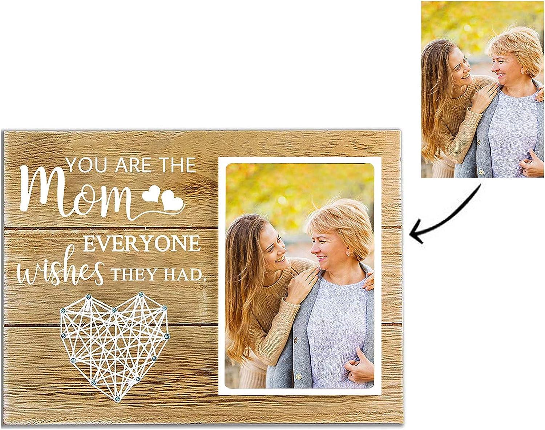 Marco de fotos personalizado, marco de madera con texto grabado, cartel de exhibición de álbum de fotos colgante, decoración retro para el hogar, regalo de cumpleaños para el día de la madre