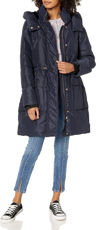Jessica Simpson Womens Black Faux Fur Winter Puffer Coat Outerwear S BHFO 7575