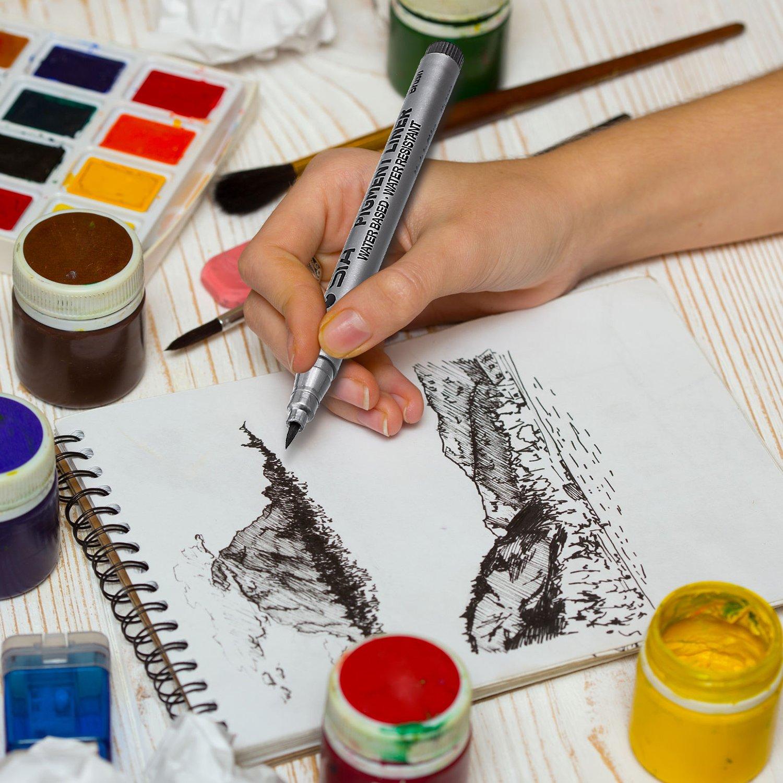 Fineliner de Pigmento Negro Micro Bol/ígrafos de Tinta Juego de Pluma Negra Impermeable para Escritura Dibujo Arte 18 Piezas
