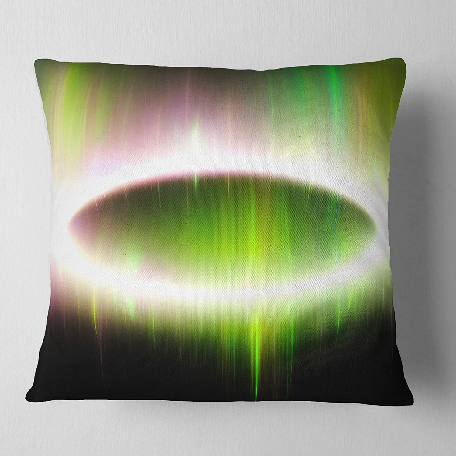 Designart CU16141-18-18 Beautiful Green Northern Lights' Abstract Cushion Cover for Living Room, Sofa Throw Pillow 18 in. x 18 in. in, Insert Printed On Both Side