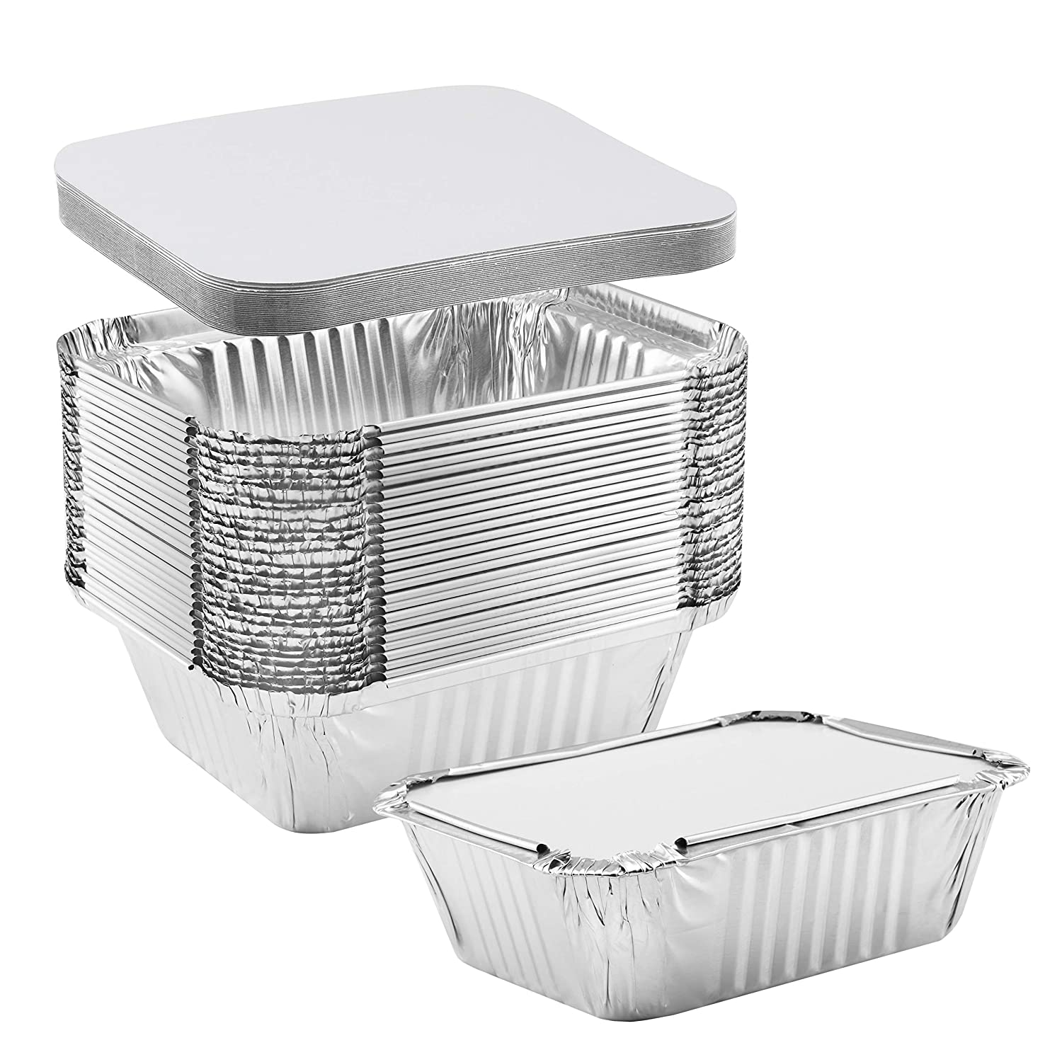 NYHI 50-Pack Heavy Duty Disposable Aluminum Oblong Foil Pans with Lid Covers Recyclable Tin Food Storage Tray Extra-Sturdy Containers for Cooking, Baking, Meal Prep, Takeout - 1 lb