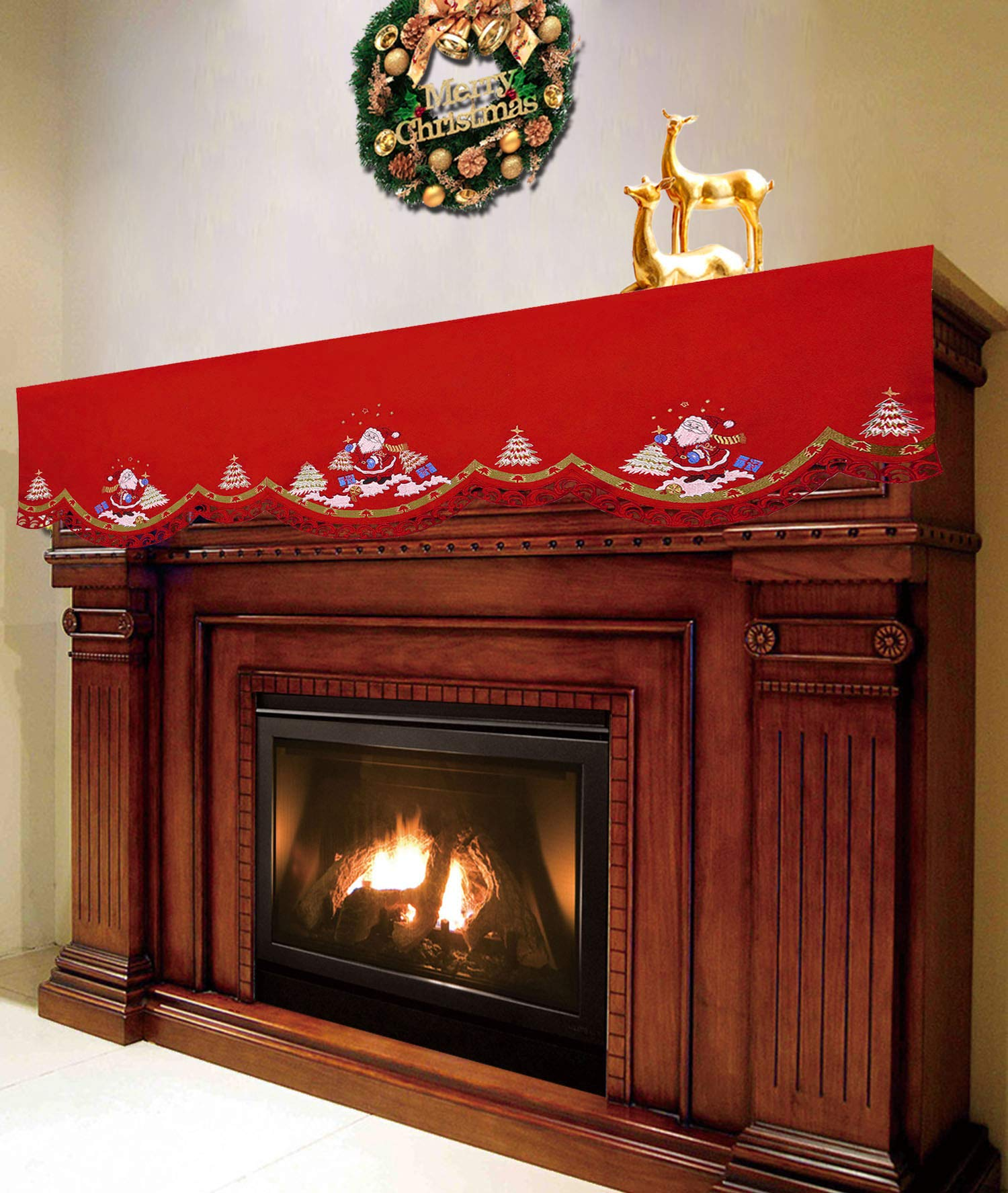 Simhomsen Embroidered Santa Claus Mantel Shelf Scarf Runner for Fireplace, Christmas Holiday Decorations (70 × 20 Inch) by Simhomsen