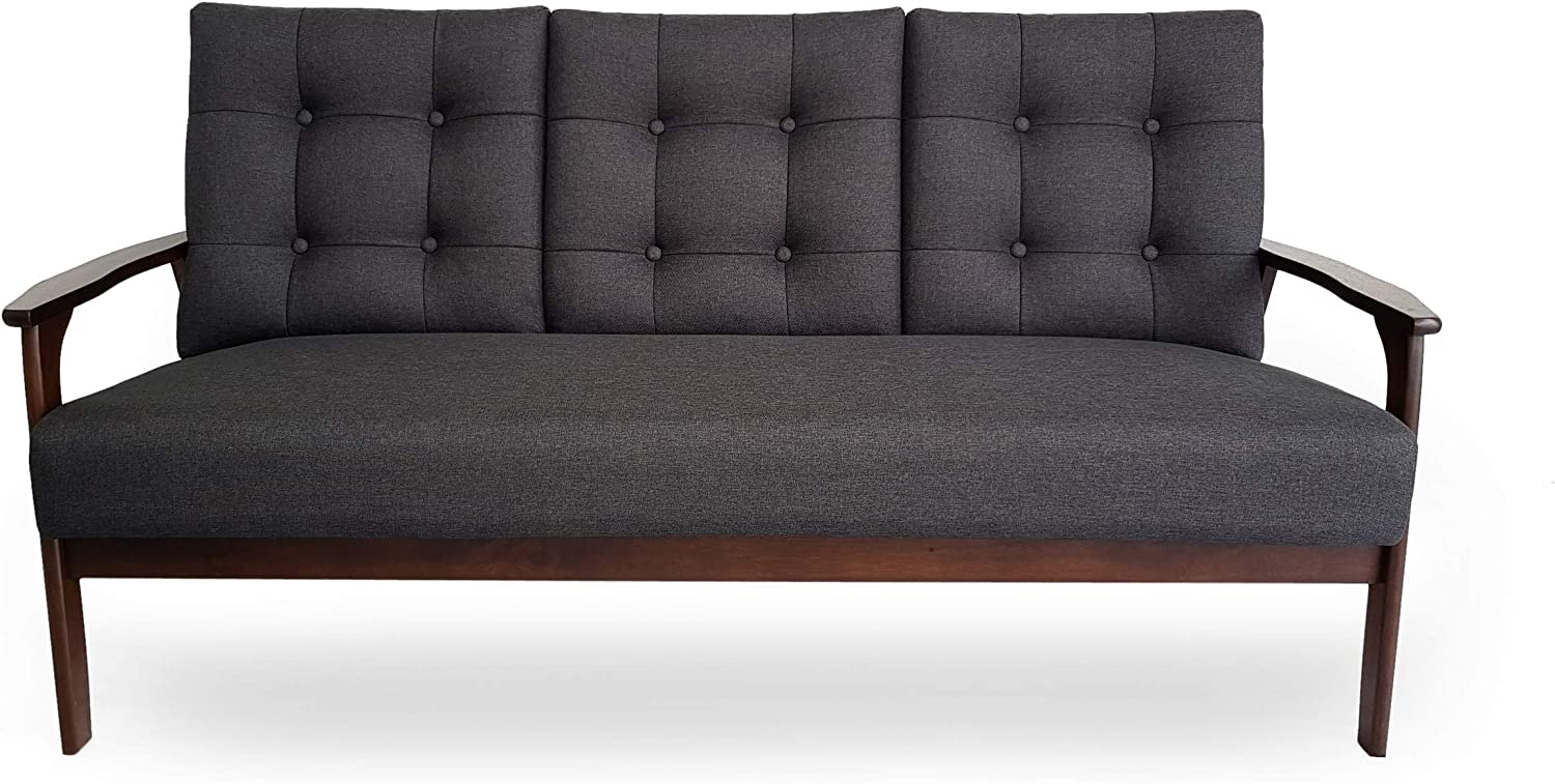 Christopher Knight Home Athena Mid Century Waffle Stitch Tufted Accent Sofa with Rubberwood Legs-Black and Walnut Finish
