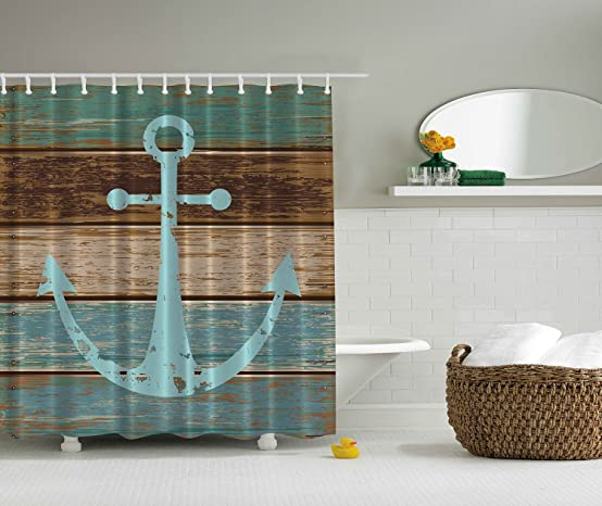 Amazoncom Nautical Anchor Rustic Wood Shower Curtain Water - Aqua and brown bathroom accessories for bathroom decor ideas