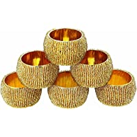 Prisha India Craft ® Beaded Napkin Rings Set of 6 Golden Decorations Christmas Ornaments, Perfect for Dinners, Parties, Weddings - Artisan Crafted in India - Gift Item