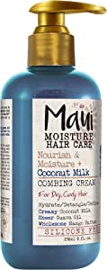 Maui Moisture Nourish & Moisture + Coconut Milk Vegan Combing Cream for Dry Curly Hair, Silicone- & Sulfate-Free Aloe Leave-In Conditioner Hair Treatment to Detangle Hair, 8 oz