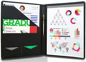 STYLIO Padfolio/ Resume Portfolio Folder - Interview/ Legal Document  Organizer & Business Card Holder