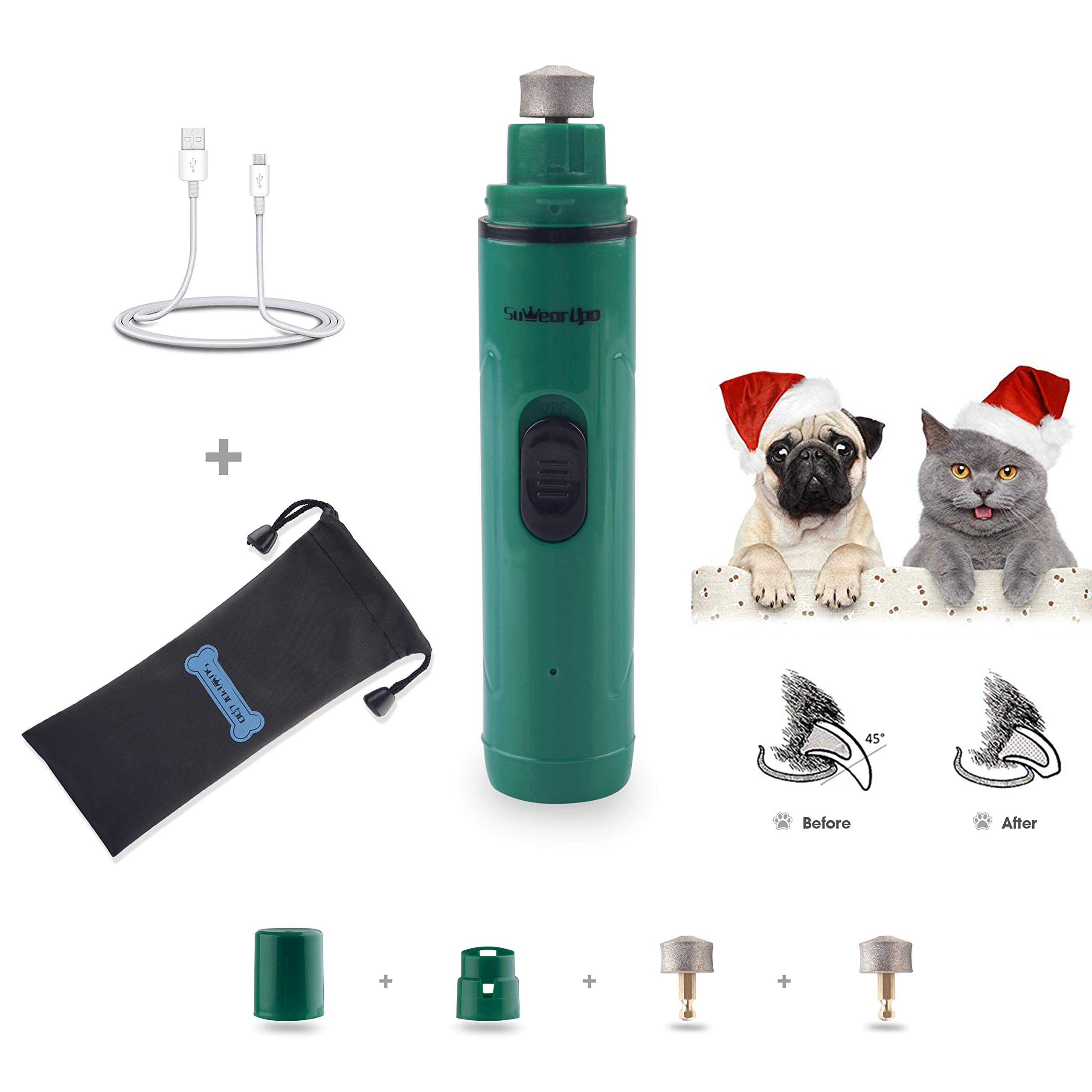 XIAOO 2 Speed Electric Pet Nail Grinder for Dogs Cats with Free Drawstring Bag/Extra Diamond Wheel-1 Hours Quick Charging 6hrs Long Work (Stylish Green)