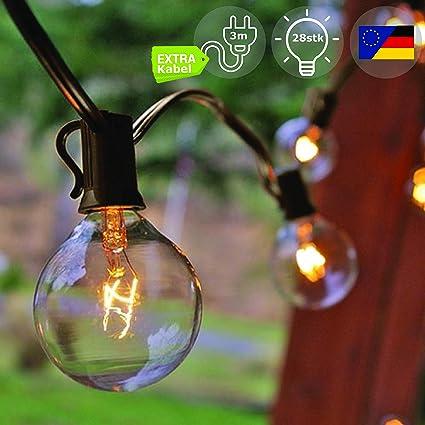 EINS Lichterkette Außen, Lichterkette Gluehbirne Aussen [Version mit Gratis Extra Langem Kabel] G40 10.6m Lichterkette Garten