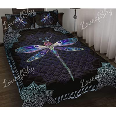 Dragonfly and Mandala Lovers Quilt Super King Size - Comforters Christmas Birthday Little Girls Kids - Best Decorative, Gifts from Mom Mommy Mother Dad Daddy Father: Home & Kitchen