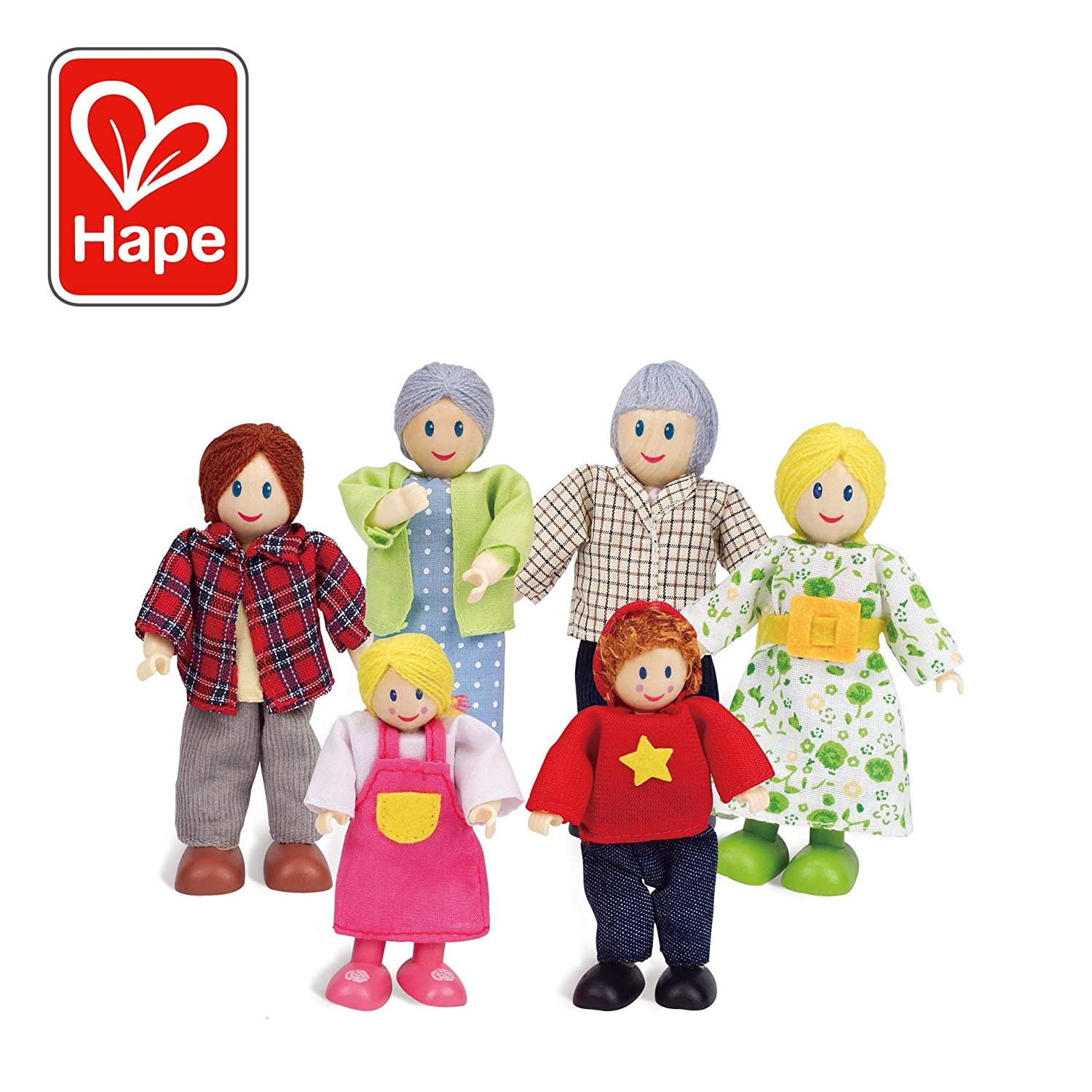 Award Winning Hape Caucasian Doll Family Set for Kid's Dollhouses